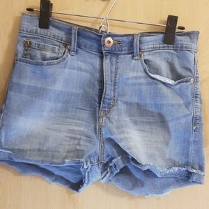 Light wash high rise shorts